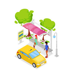 taxi car stop isometric 3d icon vector image vector image