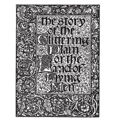 The story of the glittering plain william morris vector