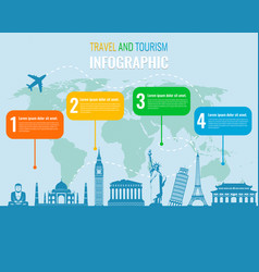 travel and tourism infographic set with landmarks vector image vector image