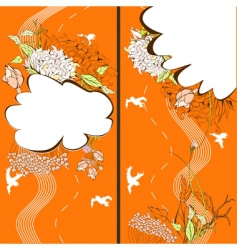 two banner with floral element vector image vector image