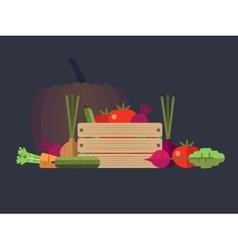 Vegetables farm flat design vector image vector image