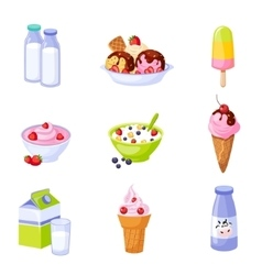 Dairy products assortment set of isolated icons vector