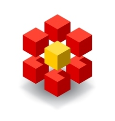 Red cube logo with yellow segments vector image