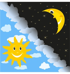 Sun and moon vector