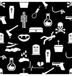 Death theme set of black simple icons seamless vector