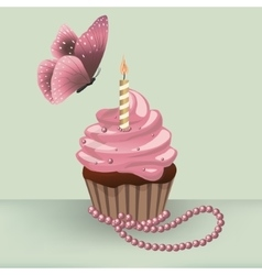 Birthday cupcake with burning candle and butterfly vector