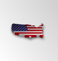 Three dimensional map of American in flag colors vector image