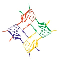 Hands holding each other in unity multiracial vector