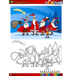 Santa claus group coloring page vector