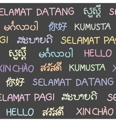 The word hello in south east asian languages vector