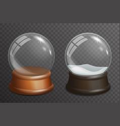 3d realistic snow glass ball highlight wooden vector