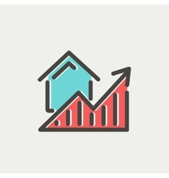 Residential graph increases thin line icon vector