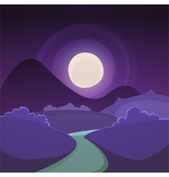 Night cartoon landscape vector
