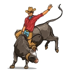 Cowboy riding a bull isolated vector