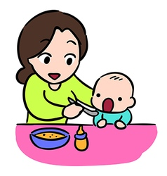 Mother feeding her baby by spoon isolate stock vector