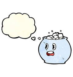 Cartoon bowl of sugar with thought bubble vector