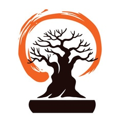 Japan bonsai with zen symbol vector