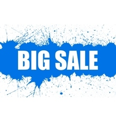 Sale banner with bright ink blue blots vector