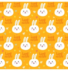 Easter seamless pattern with cute rabbits and vector image