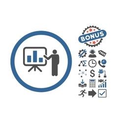 Bar chart presentation flat icon with bonus vector