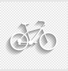 Bicycle bike sign white icon with soft vector
