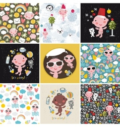 Big set of patterns with cute little baby vector image