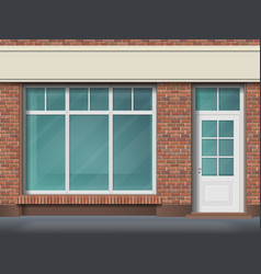 Brick store front with large transparent window vector