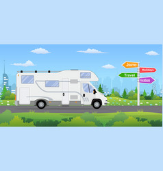 Camper van on city background vector