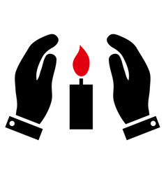 Candle care hands icon vector