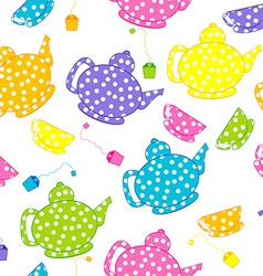 Cartoon kettles and tea cups vector image