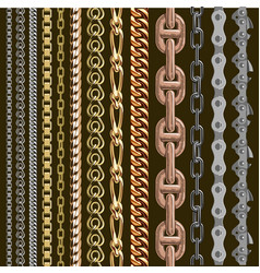 chains link elements seamless metal chain vector image
