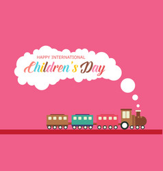 Children day with train style banner vector