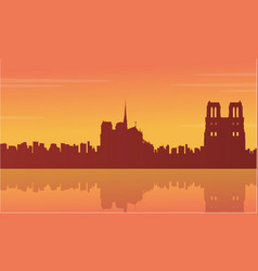 collection stock of france city scnery silhouettes vector image vector image