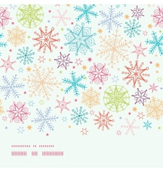 Colorful Doodle Snowflakes Horizontal Border vector image vector image