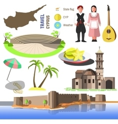 Cyprus symbols and icons vector