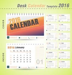 Desk calendar 2016 modern design cover template vector