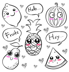 Doodle of hand draw fruit character vector