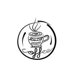 ethnic pattern coffee shop vector image vector image
