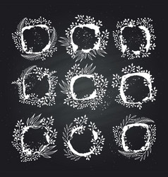 Floral frames for text hand drawing vector