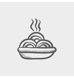 Hot meal in plate sketch icon vector image