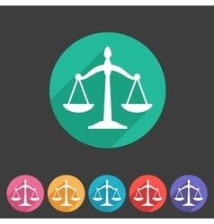 Law balance icon flat web sign symbol logo label vector