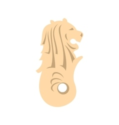 Merlion statue Singapore icon flat style vector image vector image
