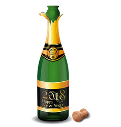 New year champagne 2018 vector