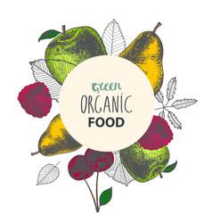 organic eco food banner poster hand drawn vector image vector image