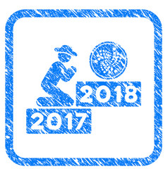 Person pray iota coin 2018 framed stamp vector