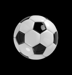 realistic soccer ball or football ball on black vector image vector image