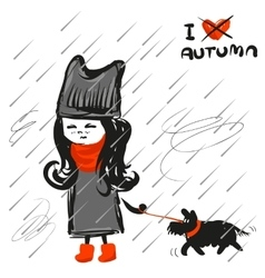 Scetch girl with dog vector image vector image