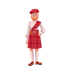 scottish man in national clothes red tartan beret vector image vector image