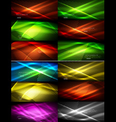 Set of glowing neon techno shapes abstract vector
