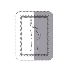 Sticker monochrome contour frame of statue of vector